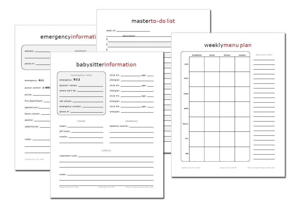 5 Images of Free Printable Home Management Sheets