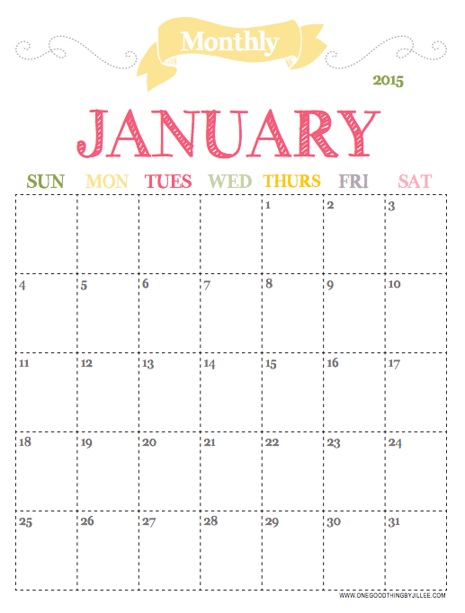 7 Images of Free Printable 2015 Monthly Planners