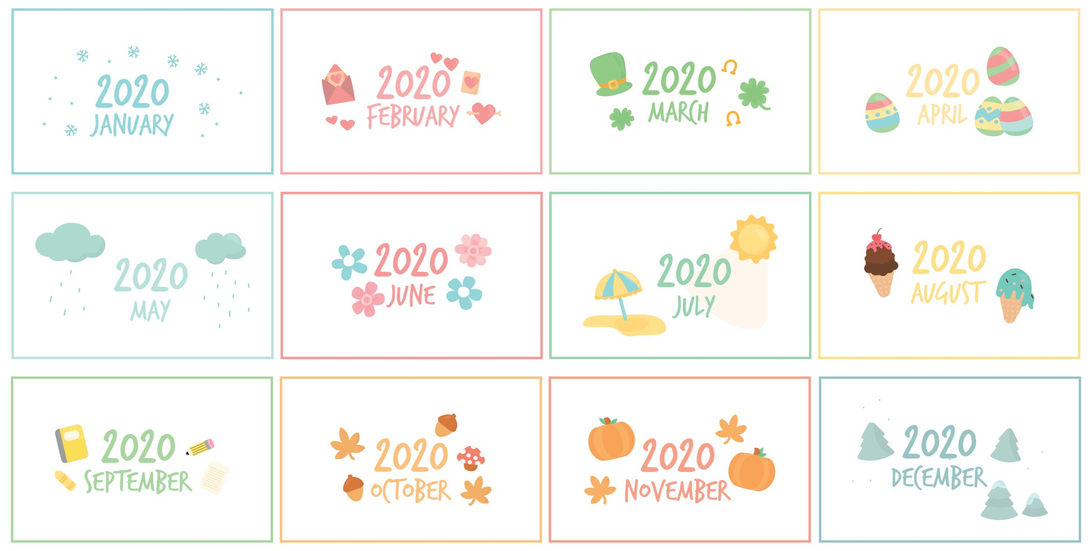 Printable Calendar Headers Months