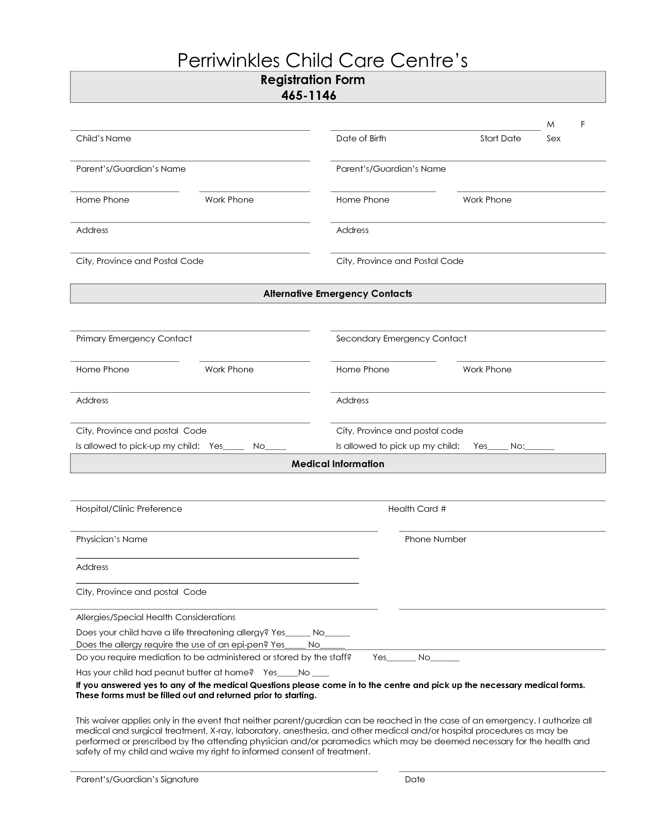 7 best images of printable daycare forms free daycare