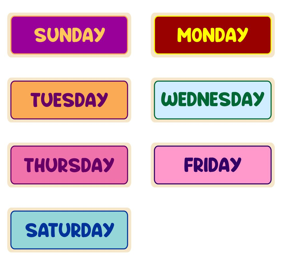 Printable Days of the Week Worksheets