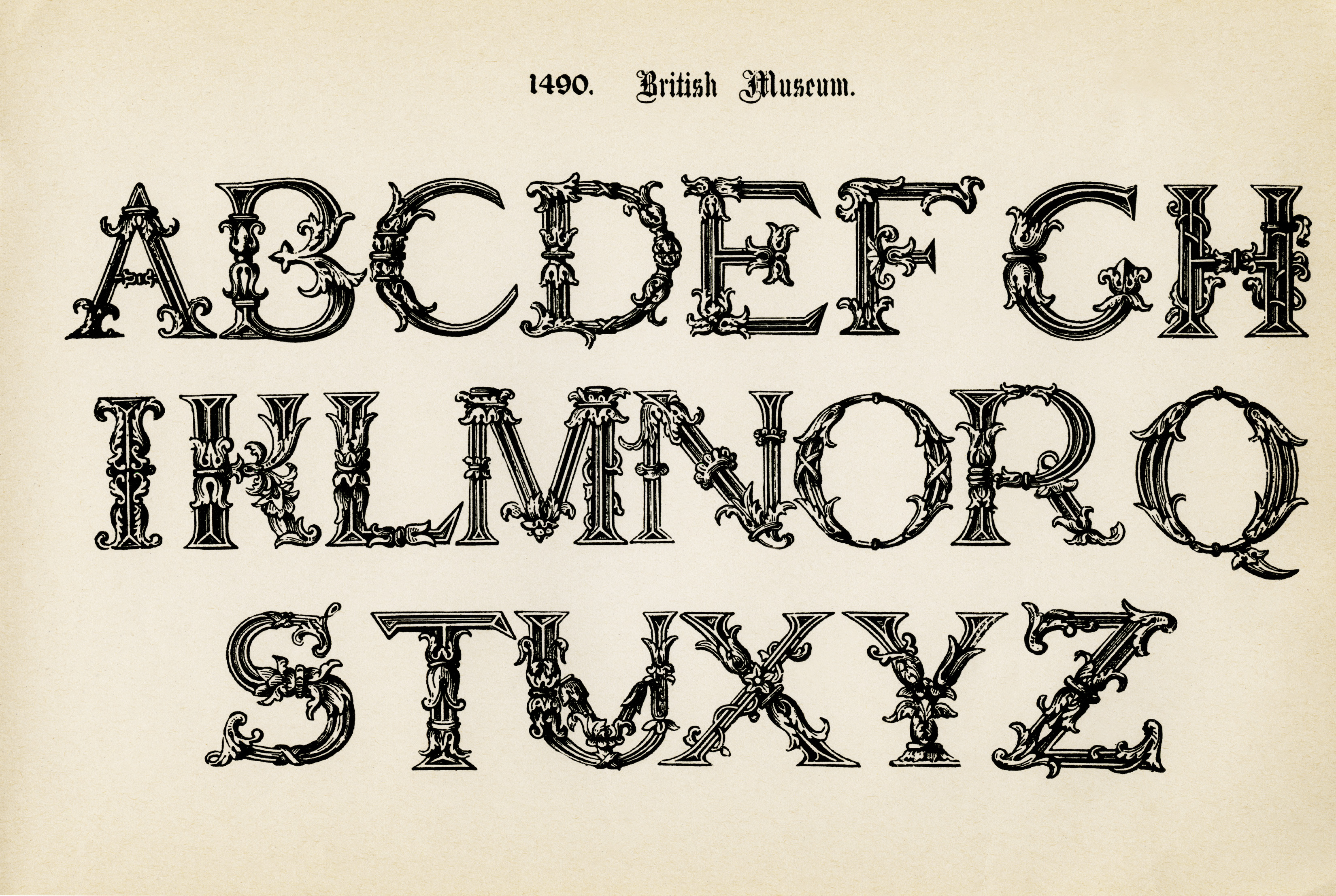 7 Images of Free Printable Vintage Alphabet