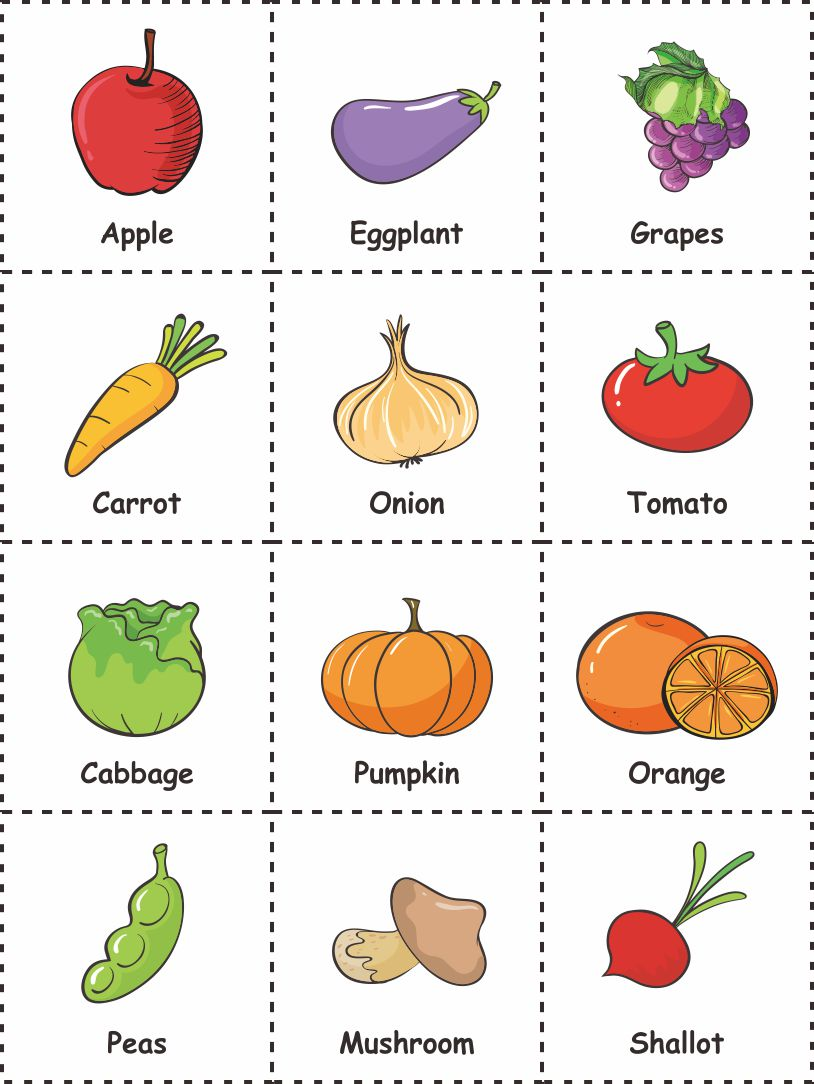 Fall Vegetable And Fruit Printables
