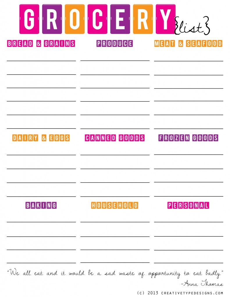 of Free Printable Grocery List Organizer - Free Printable Grocery List ...
