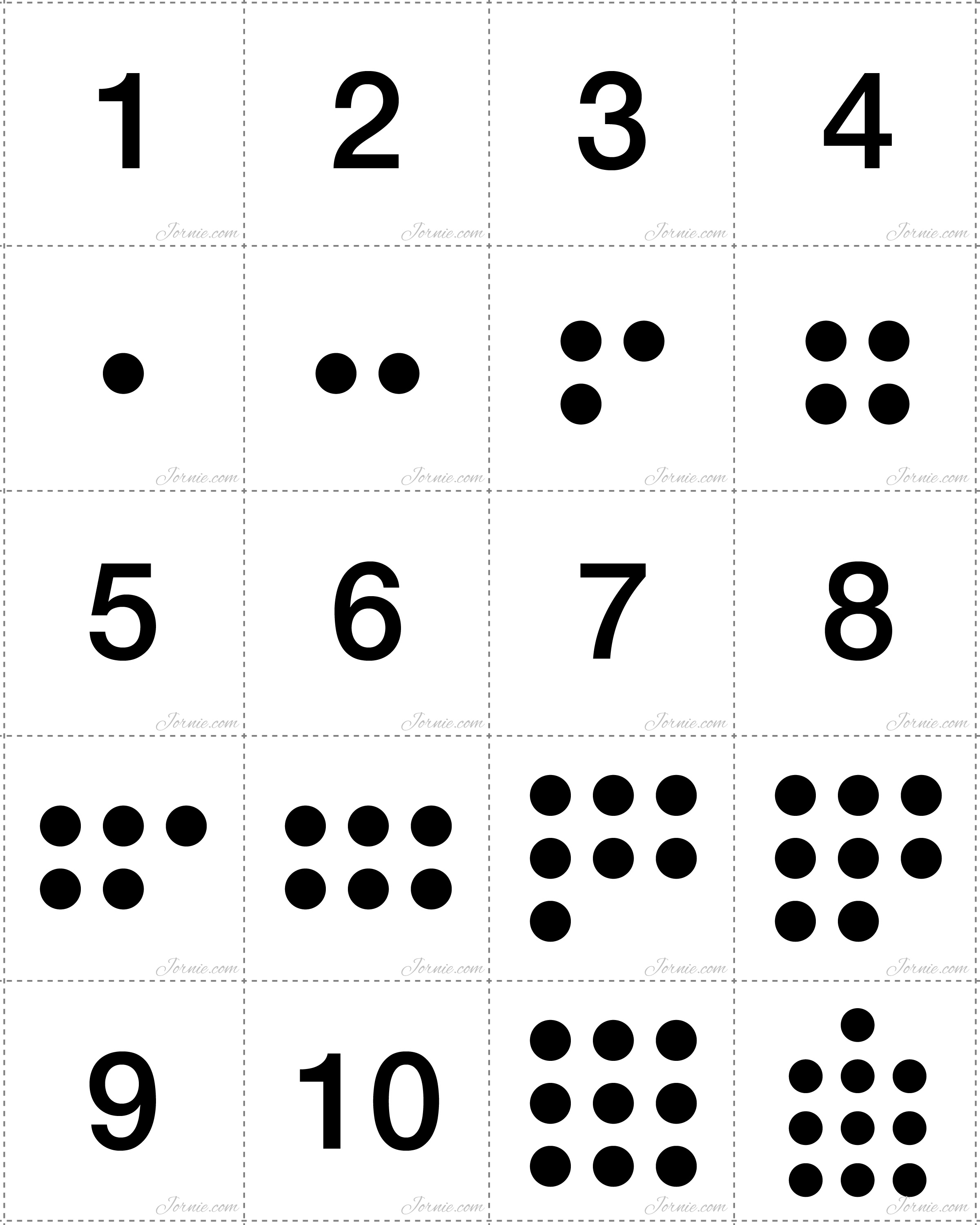 4 Images of Printable Number Matching Cards