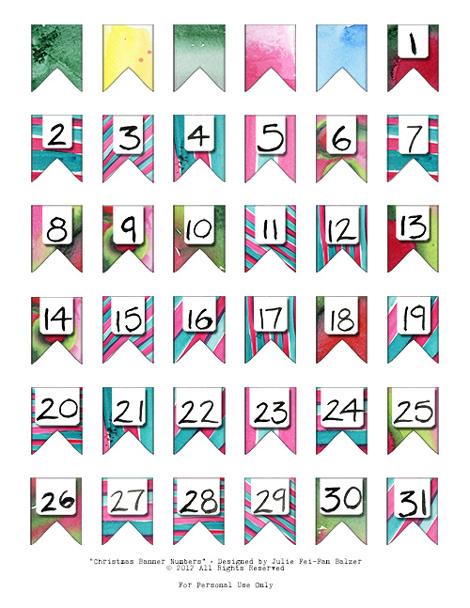 Printable Christmas Calendar Numbers 1-31 - Printable Calendar Numbers ...