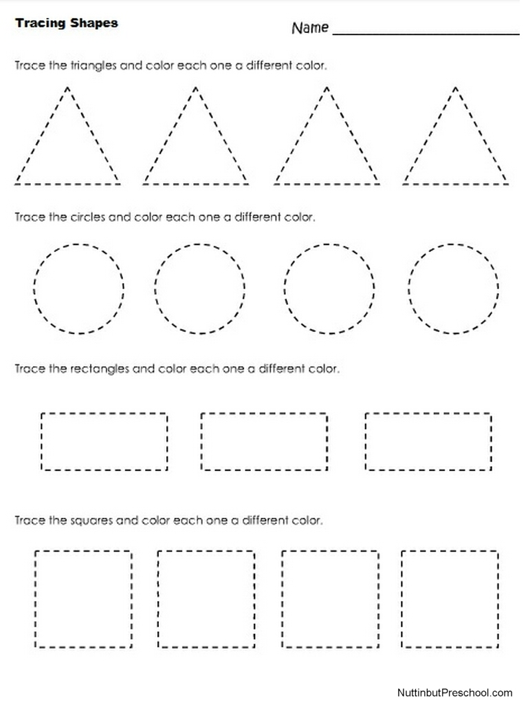 Free Printable Shape Tracing Worksheets