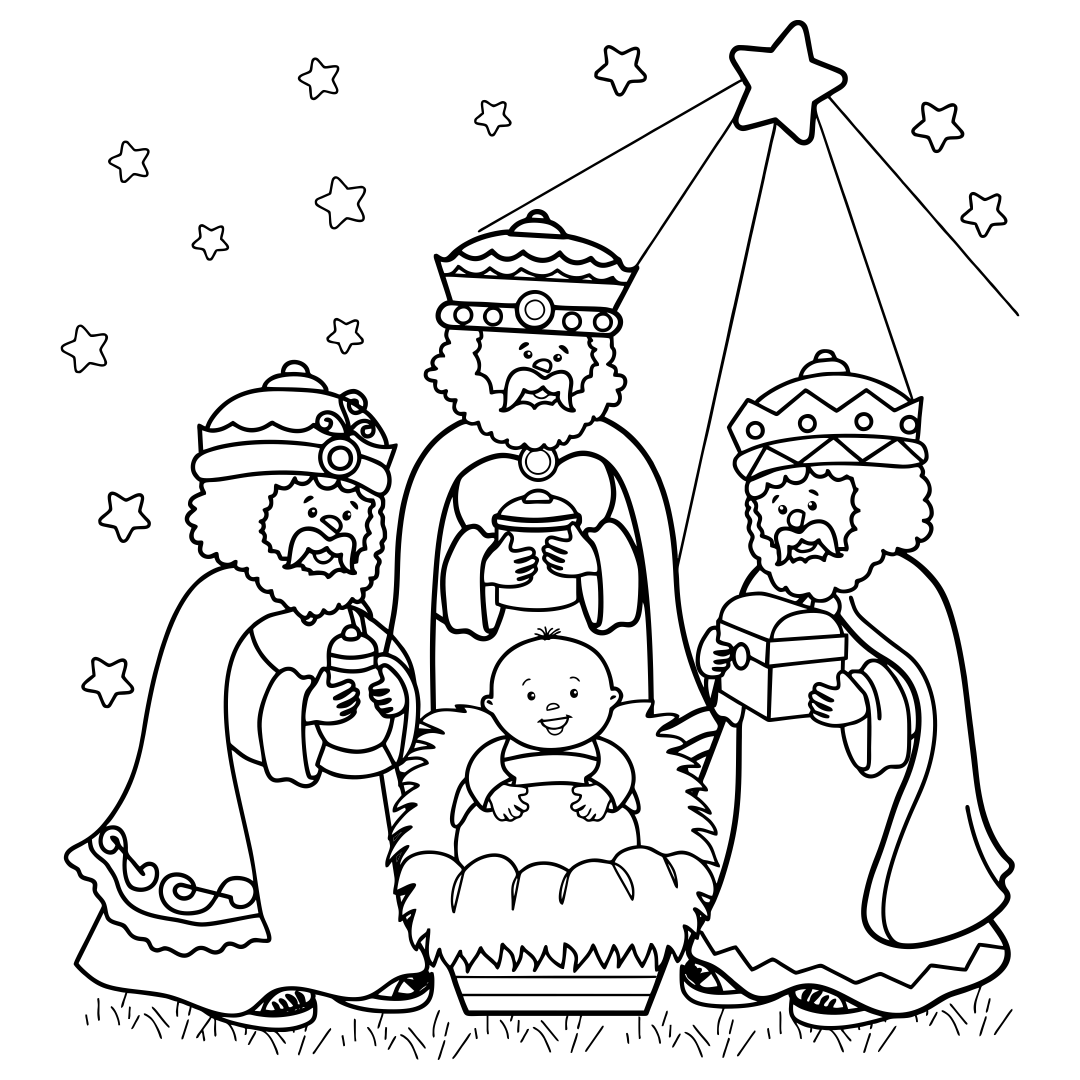 4 Images of Christian Christmas Printable Coloring Pages