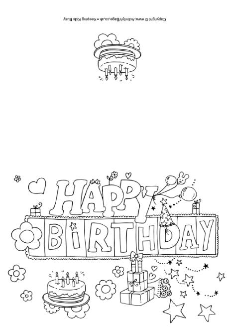 5 Images of Free Printable Happy Birthday Coloring Card