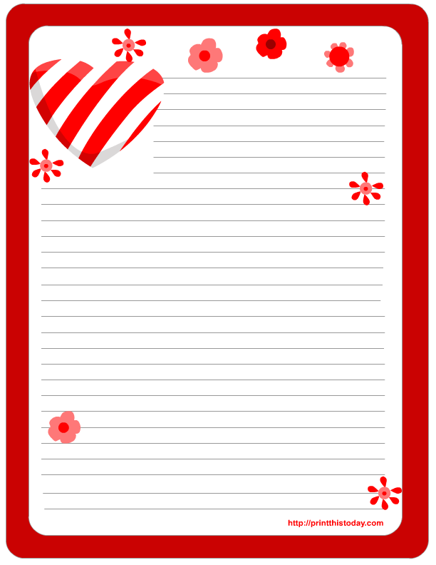 7 Images of Free Printable Valentine Stationery Template