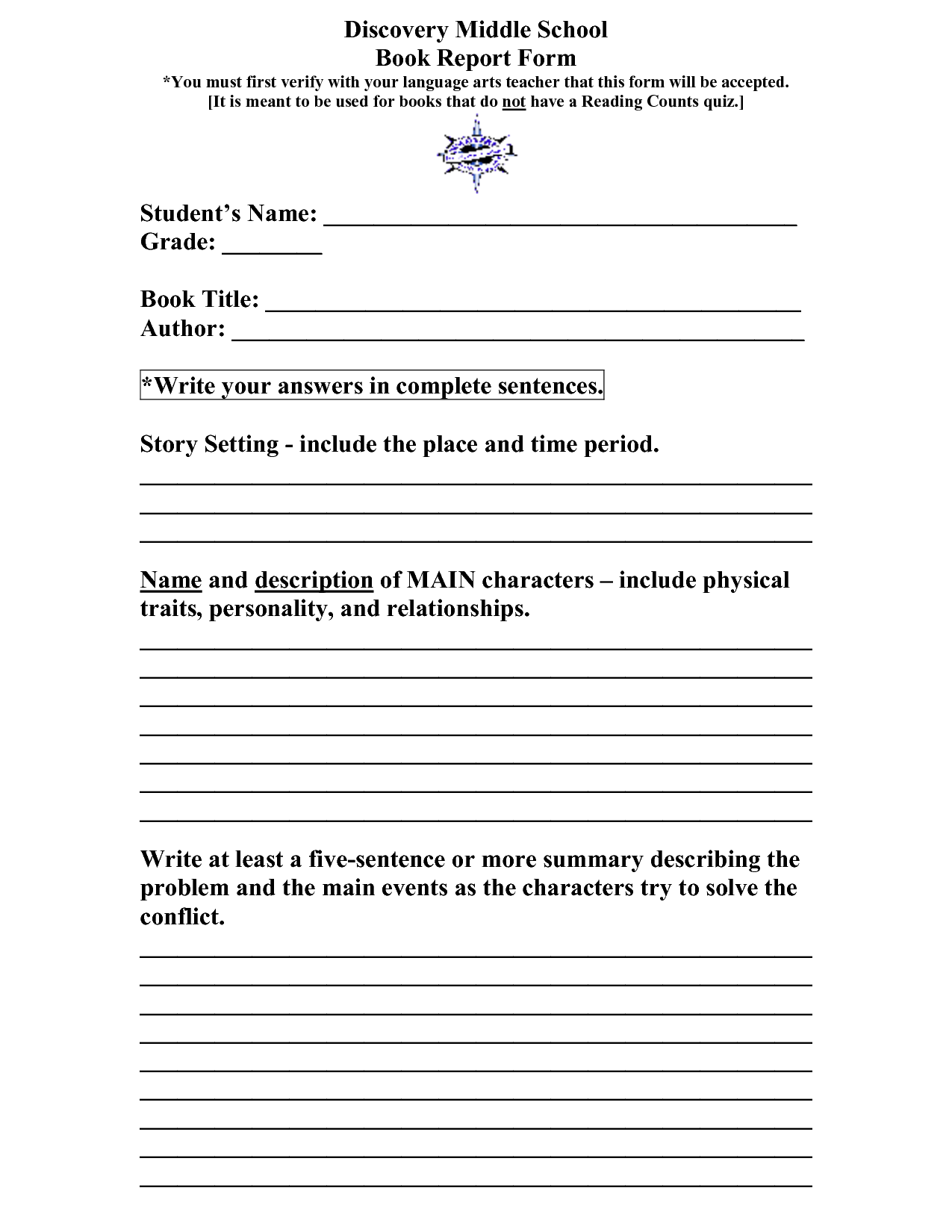 high school book report template High school completion (hsc) general educational development (ged)  for your non-fiction book report, you will be filling out the form attached to this note.