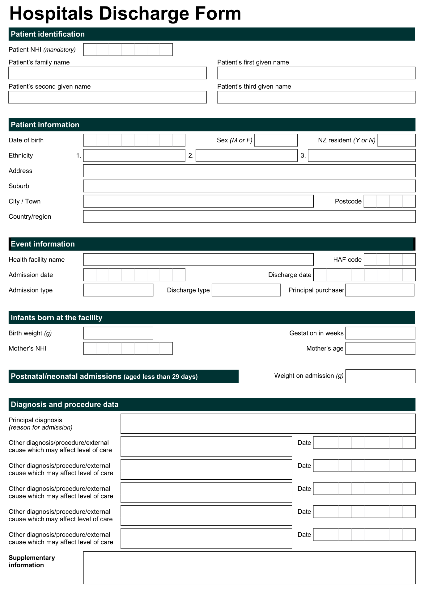 9 best images of free printable hospital discharge forms for Emergency room discharge template