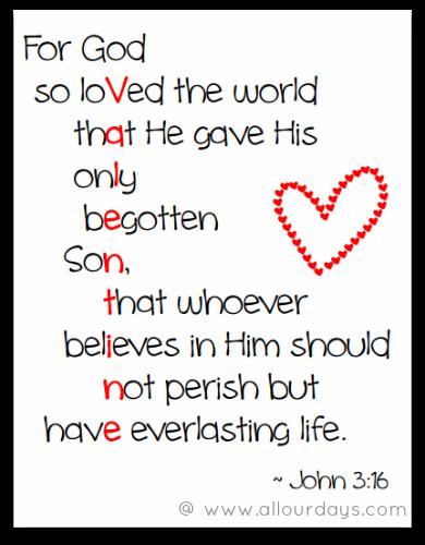 John 3 16 Valentine Printable