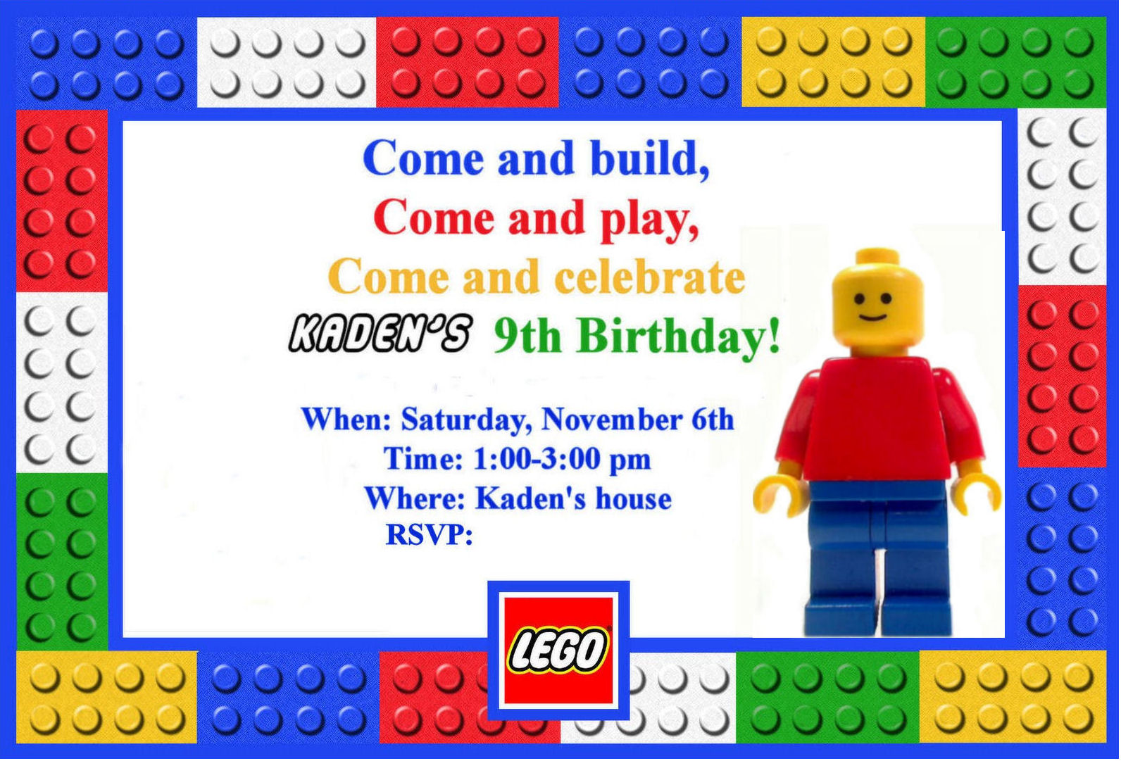 6 Images of Printable Boy Birthday LEGO Card