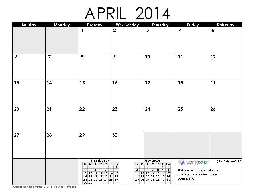 April And May 2014 Calendar