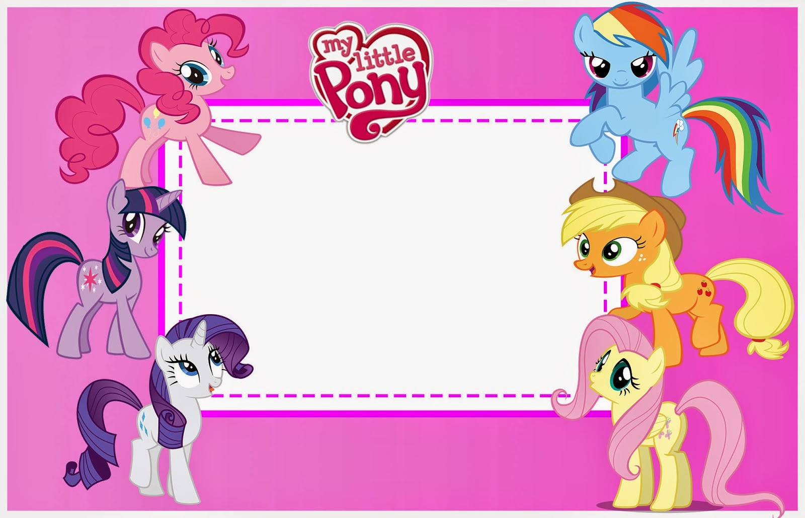 5 Images of My Little Pony Invitations Free Printable