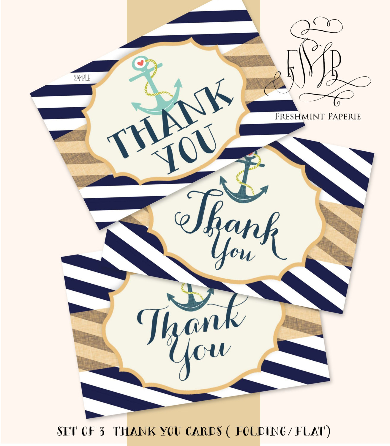 4 Images of Printable Nautical Thank You Cards