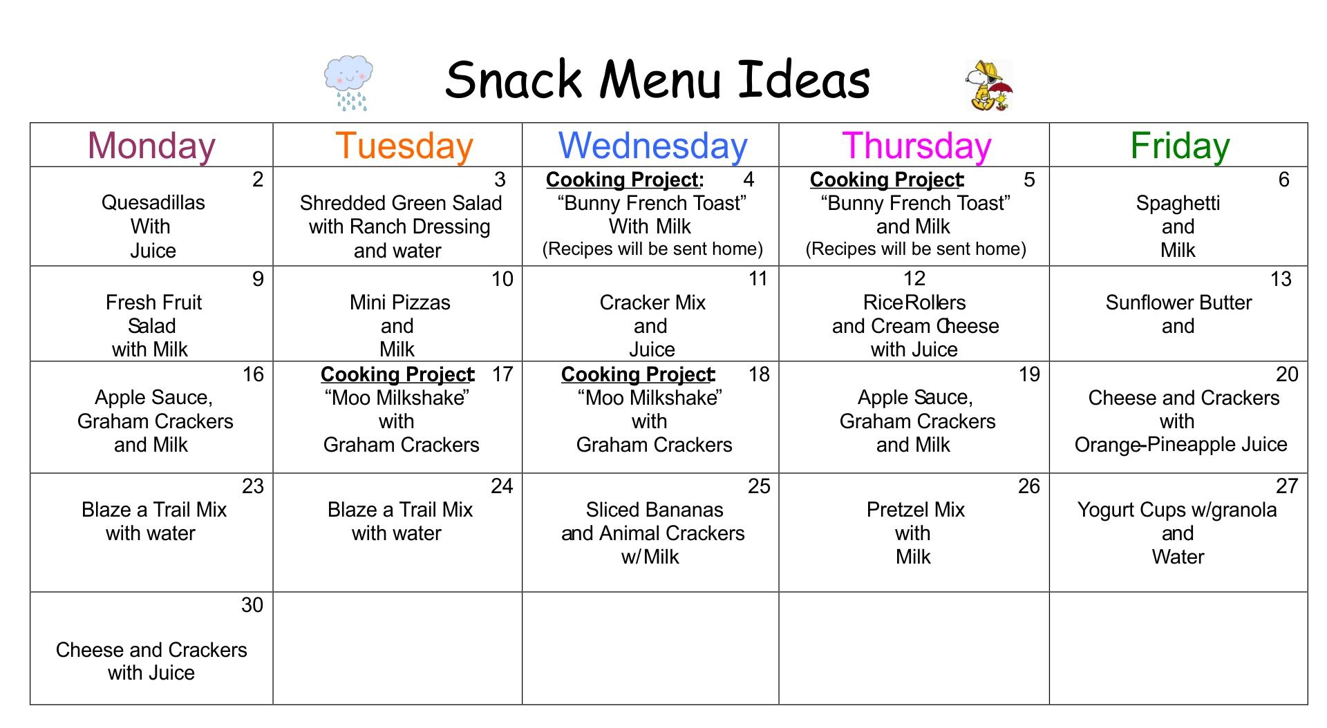 Preschool Snack Menu Ideas