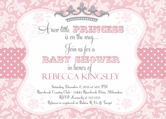 6 Images of Free Printable Princess Baby Shower Invitations