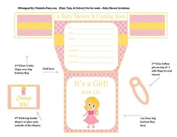 5 Images of Printable Diaper Invitations