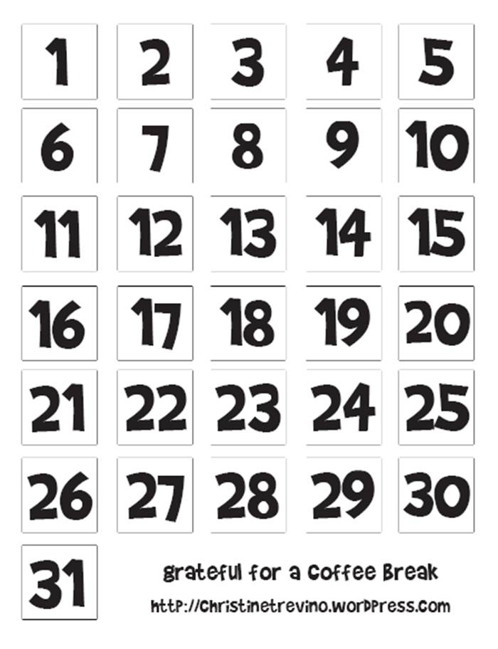 5 Images of Printable Christmas Calendar Numbers 1-31