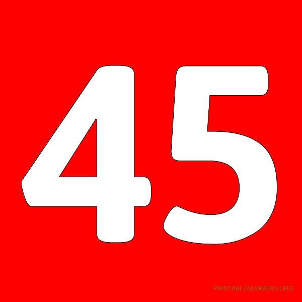 5 Images of Printable Number 45
