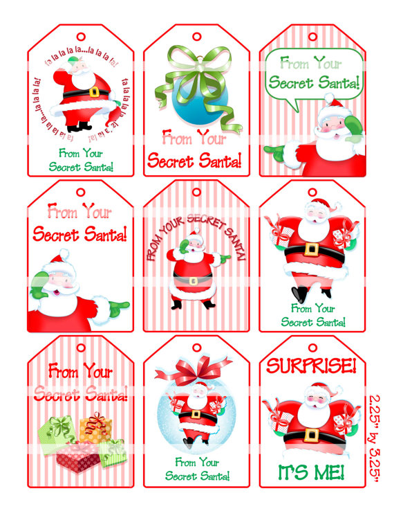 7 Images of Secret Santa Gift Tags Free Printable
