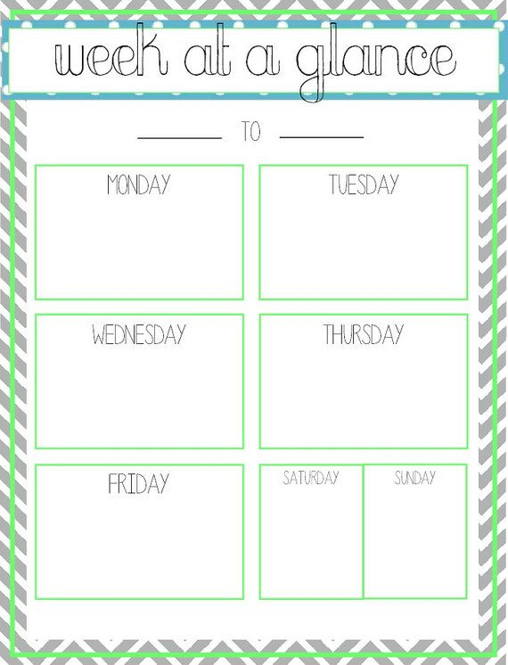 6 best images of free printable week at a glance template printable week at a glance template. Black Bedroom Furniture Sets. Home Design Ideas