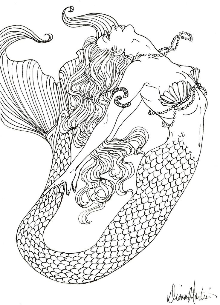 8 Images of Realistic Mermaid Coloring Pages Printable