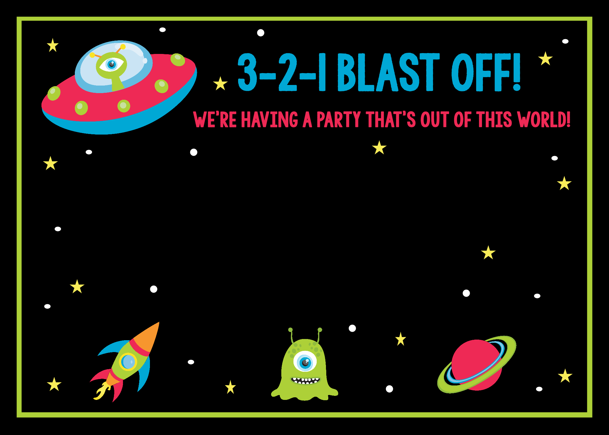 Space Birthday Party Invitations Printable Free