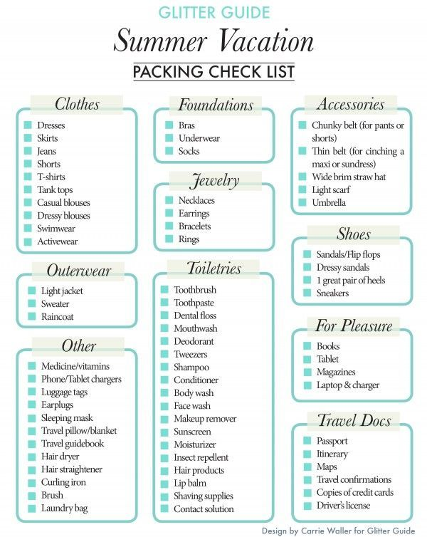 6 Images of Summer Vacation Packing List Printable