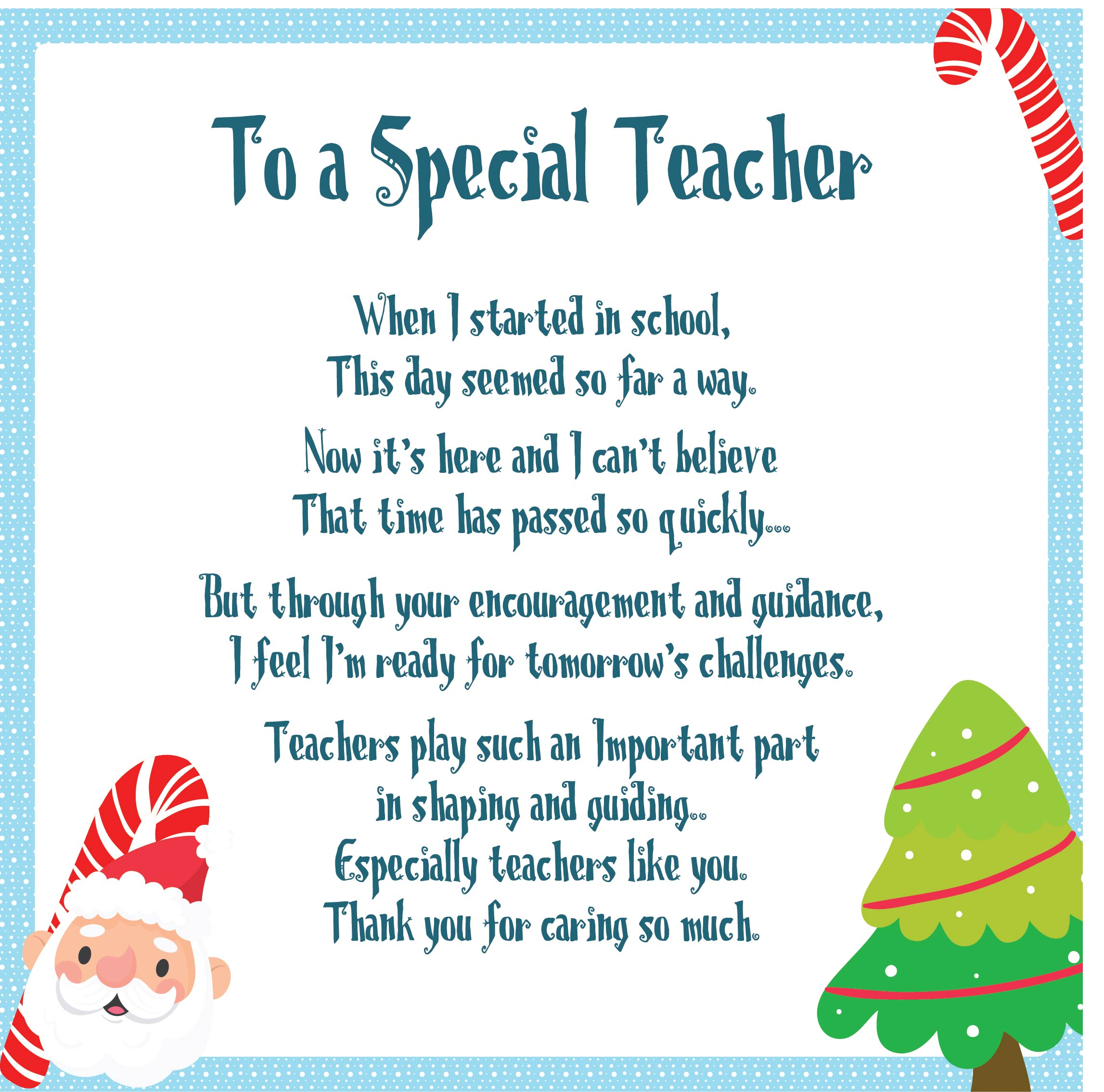 Thank You Poems Special Teachers