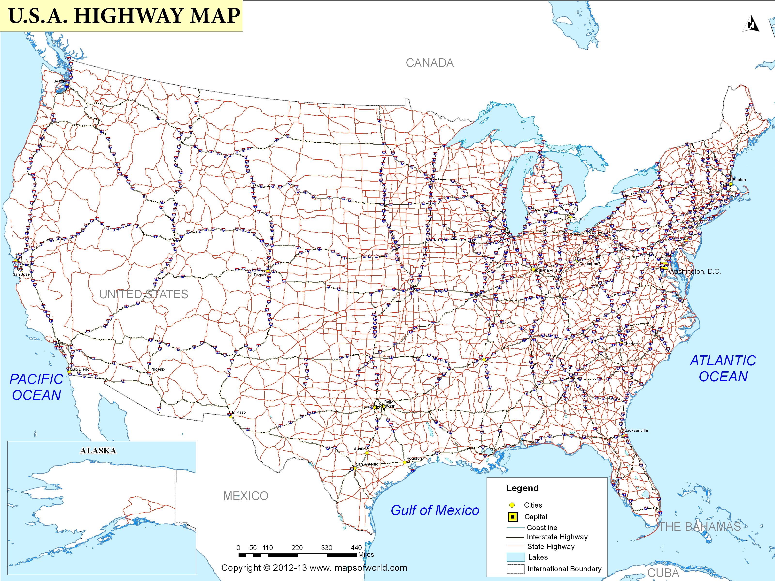 Interstate Road Map of United States Bing images