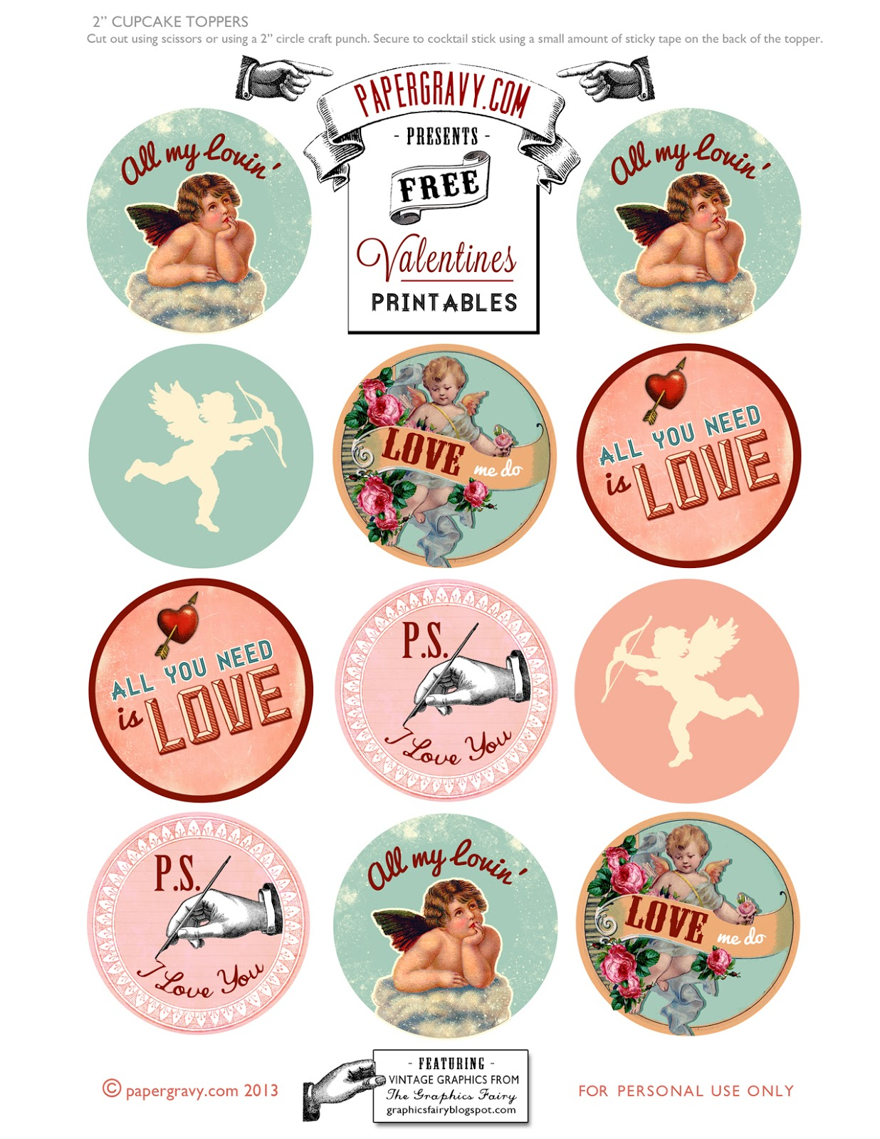 Valentine's Cupcake Toppers Printables