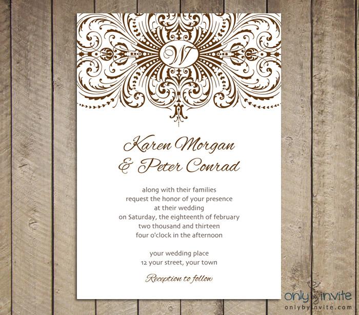 Vintage Wedding Invitation Templates Printable Free