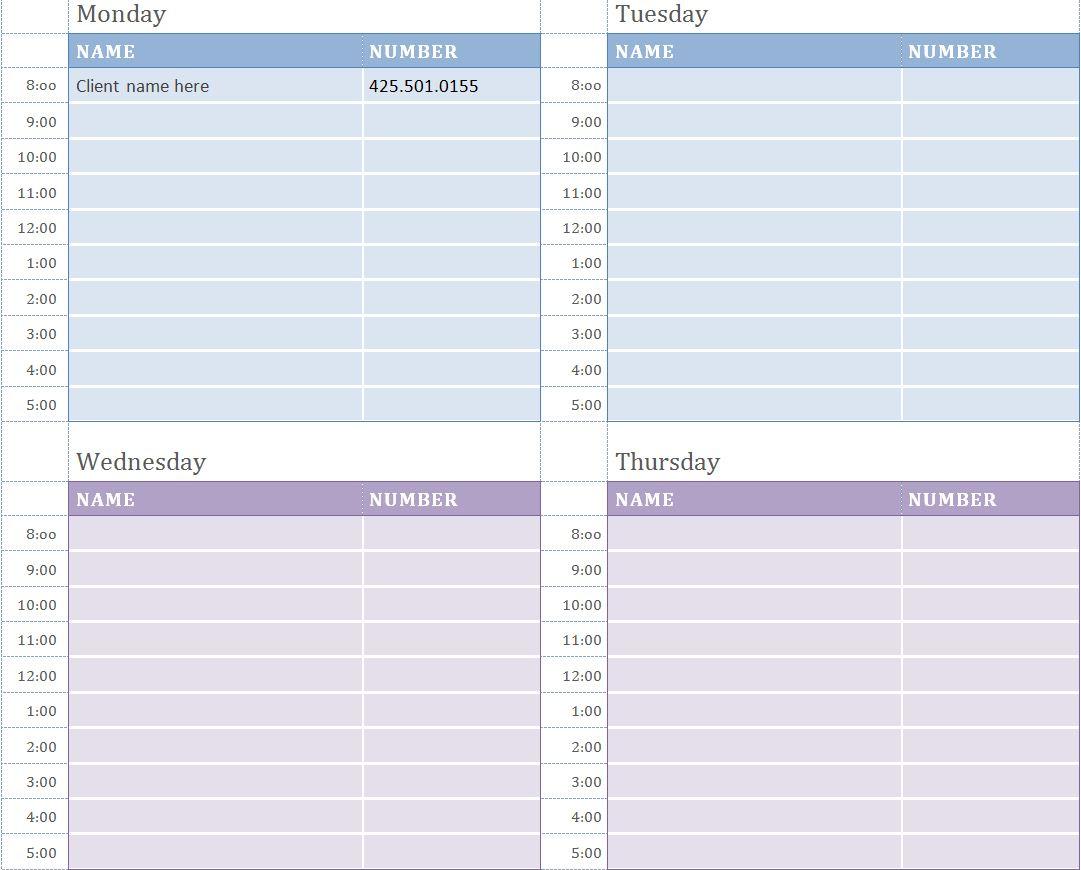 7 Images of Excel Weekly Planner Calendars Printable