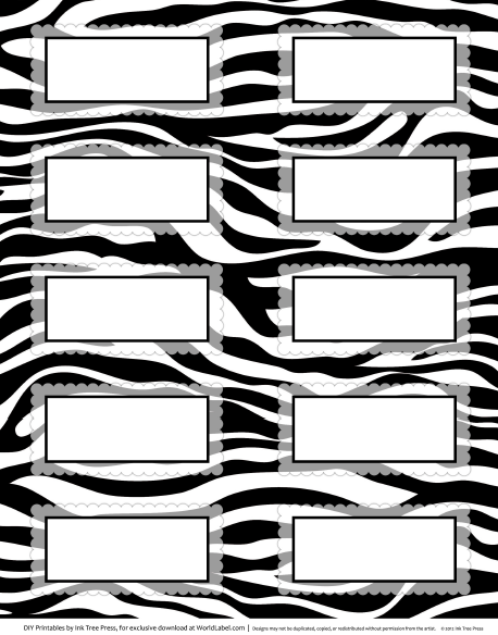 6 Images of Zebra Label Borders Free Printable