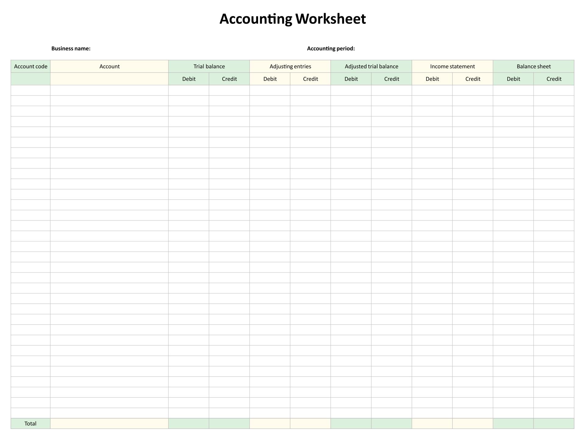 10 Column Accounting Worksheet