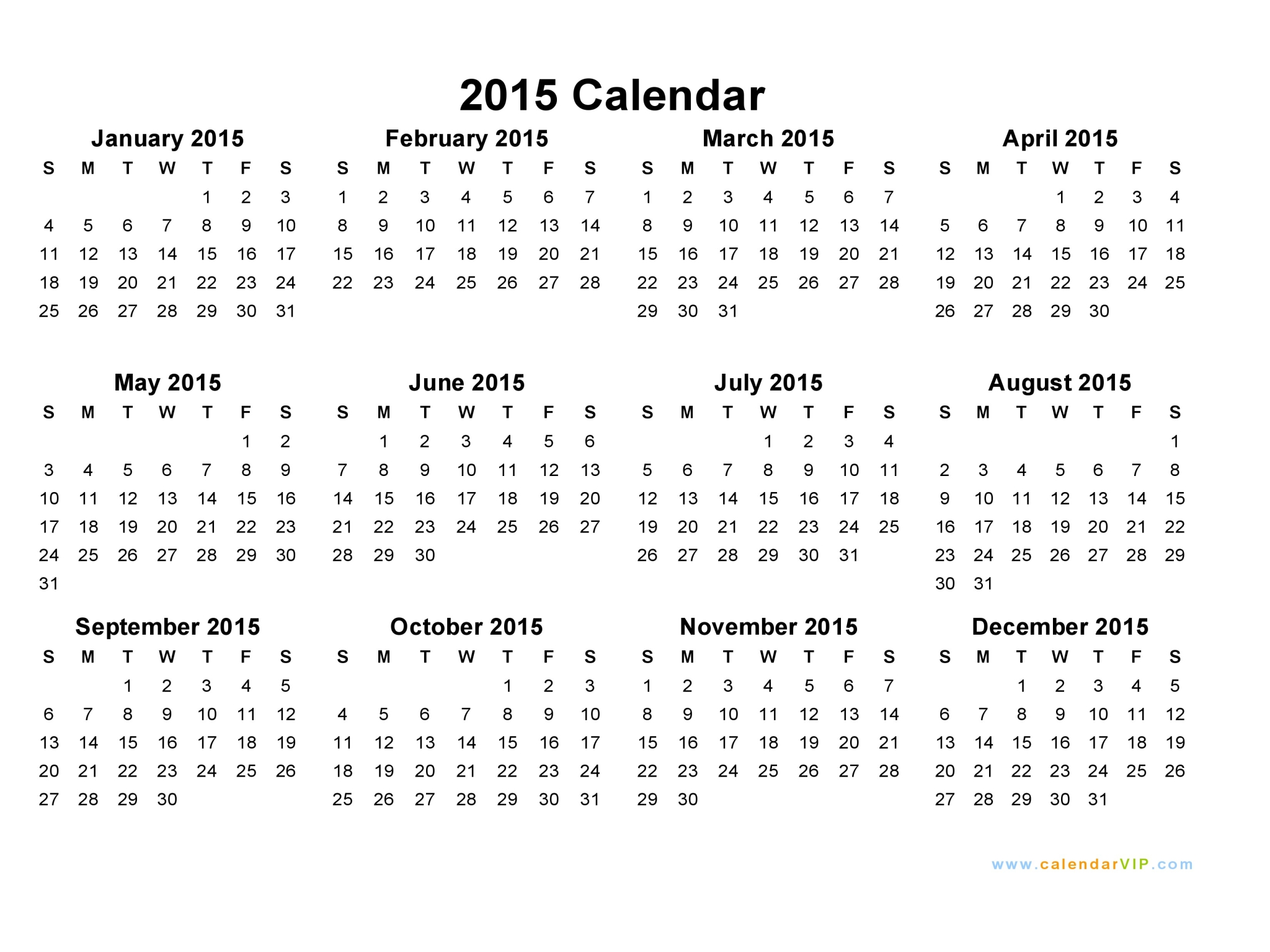 6 Images of Printable 2015 Calendar- Year