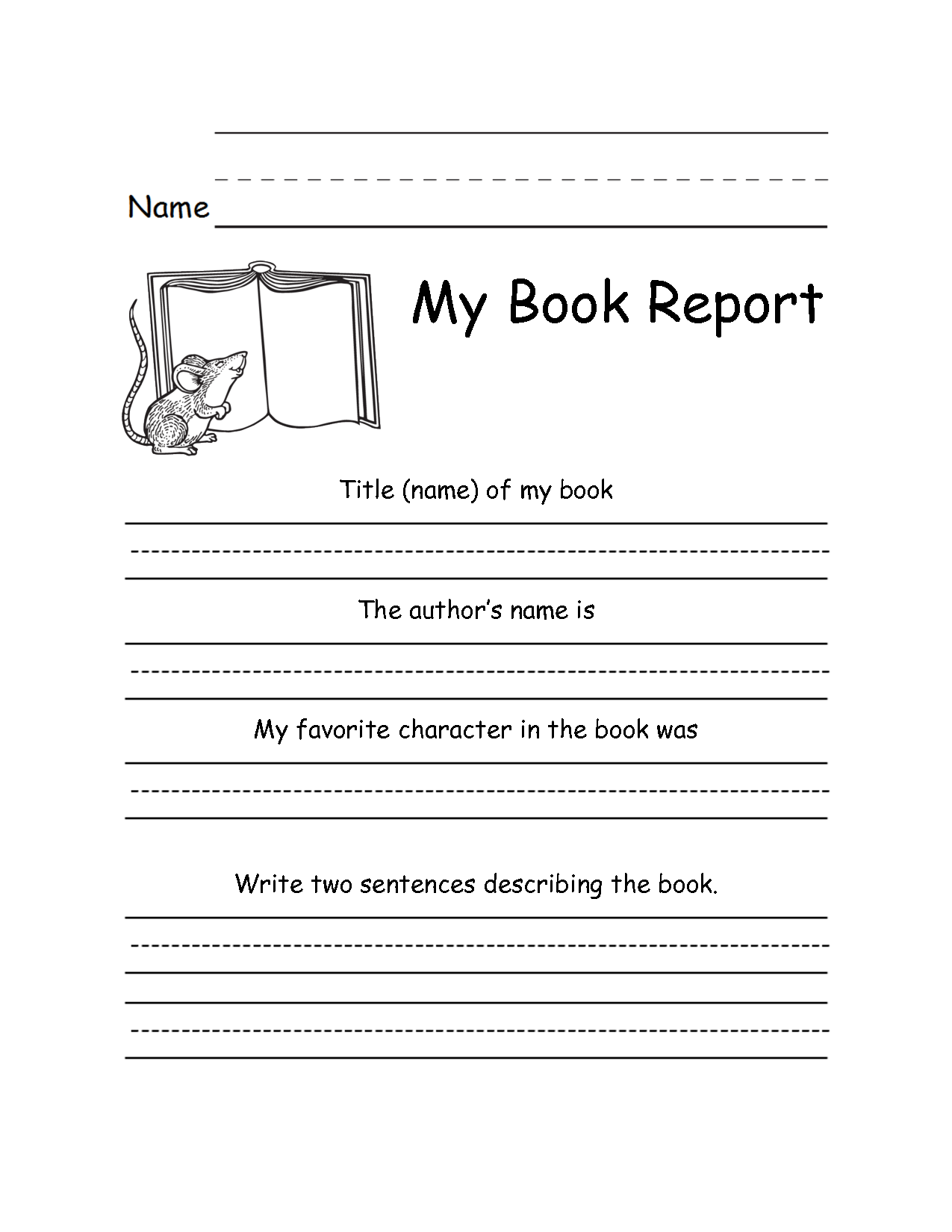 6 Images of First Grade Book Report Printables