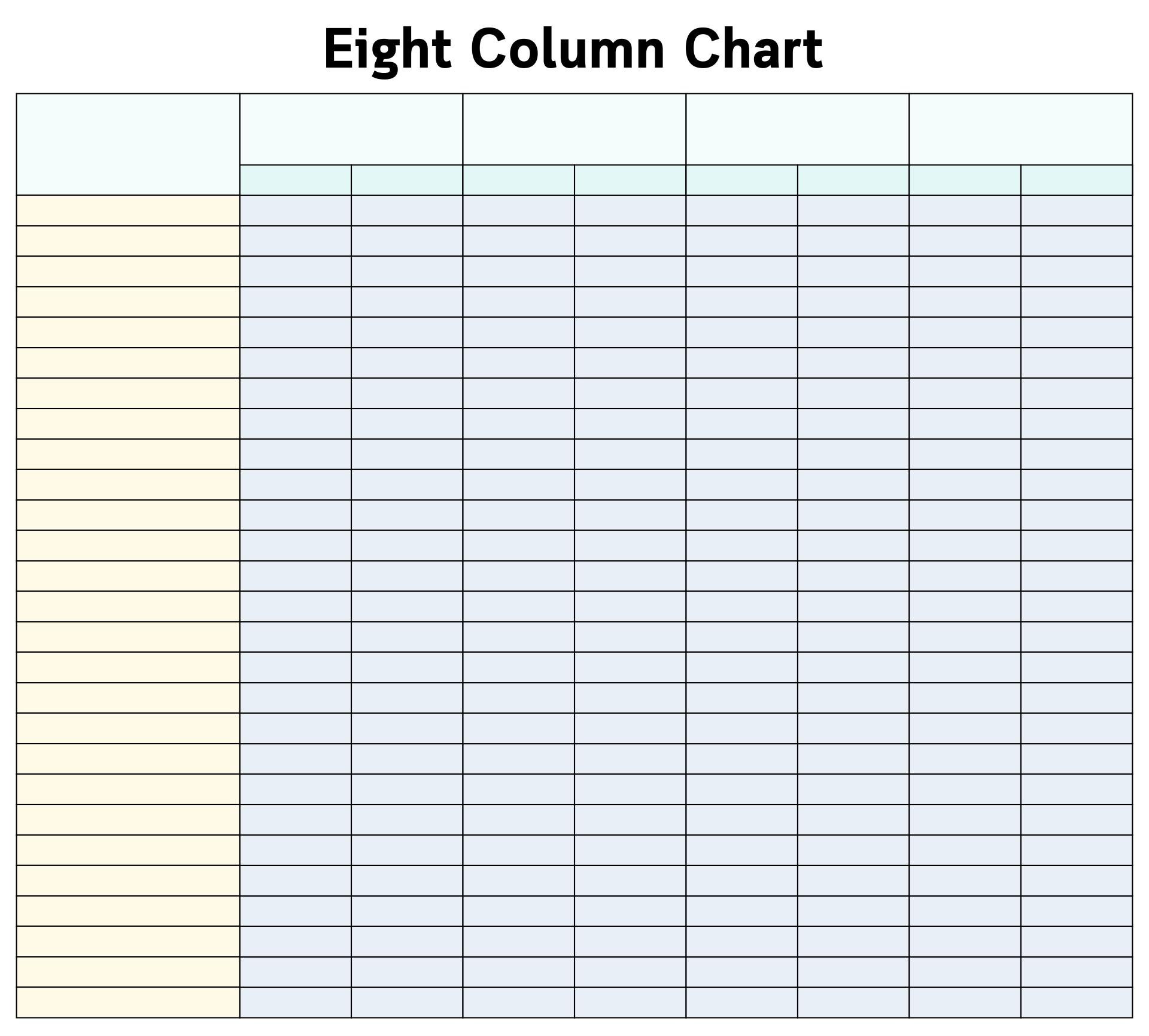 Accounting 8 Column Worksheets Printable