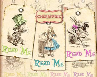 7 Images of Alice In Wonderland Read Me Tags Printable