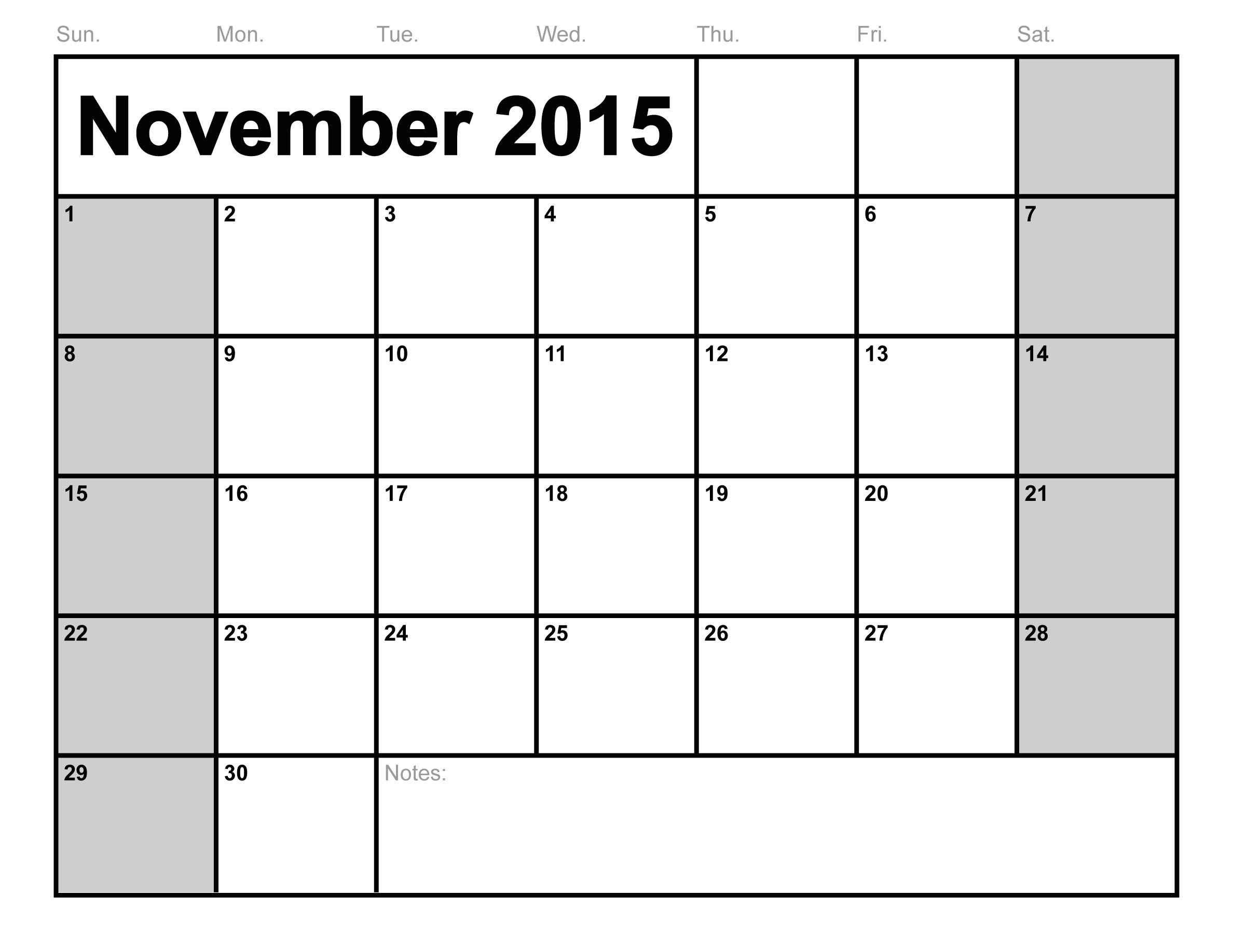 9 Images of Printable 2015 Monthly Calendar November