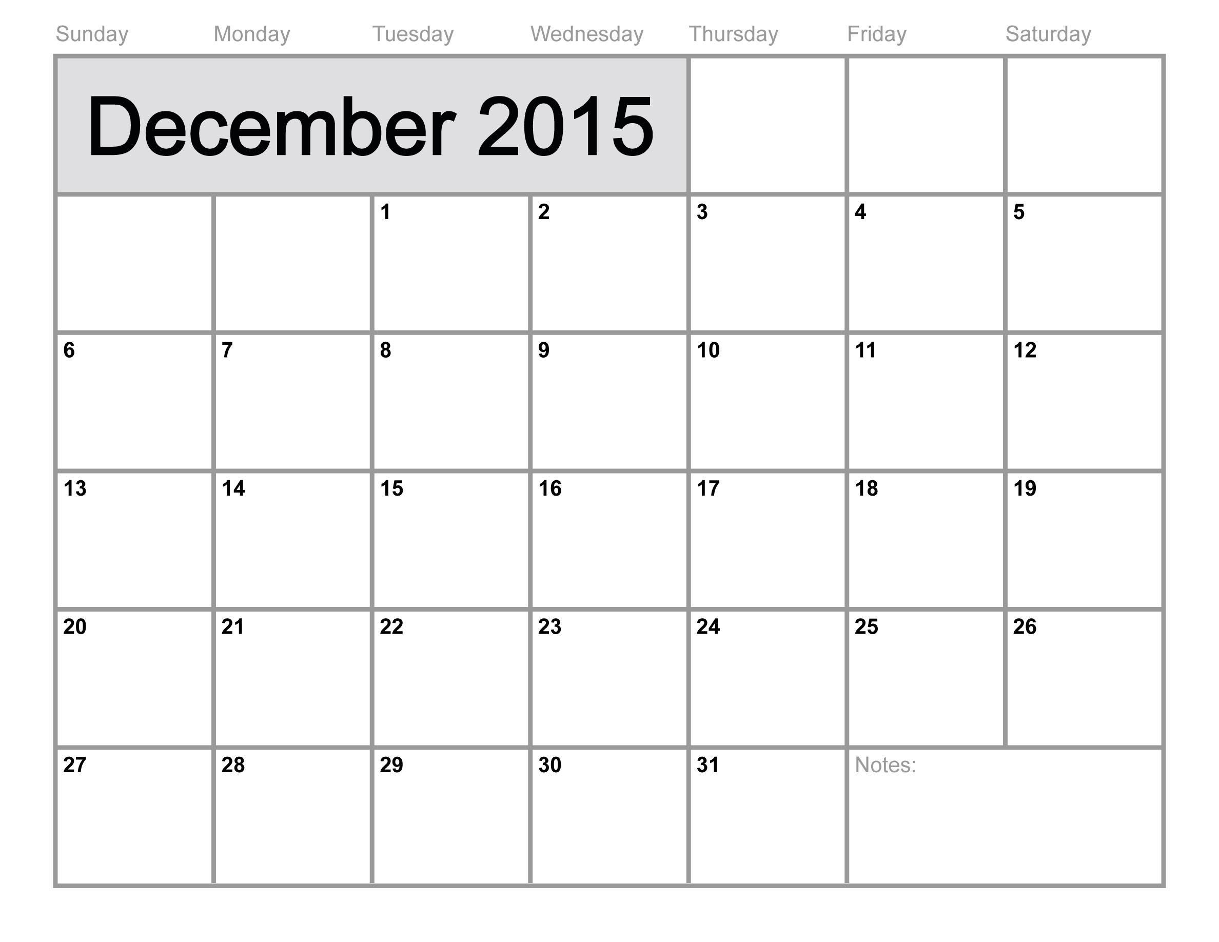 9 Images of Blank December 2015 Calendar Printable