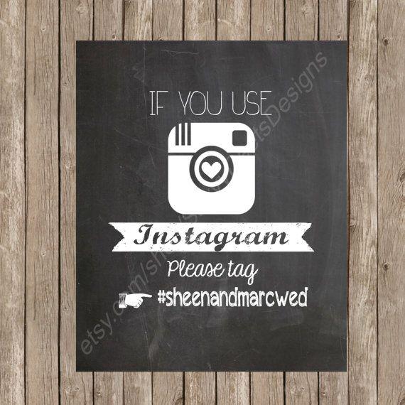 Chalkboard Wedding Instagram Hashtag Sign