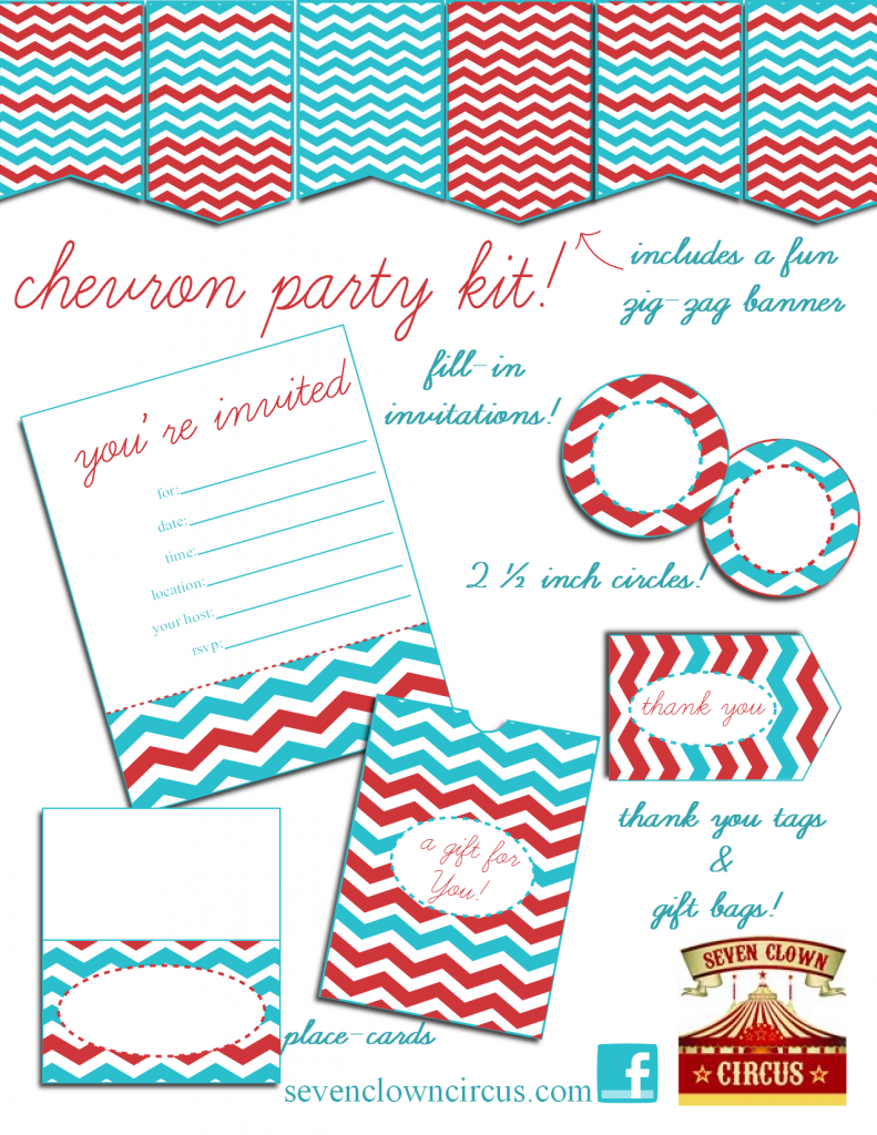 6 Images of Chevron Party Printables