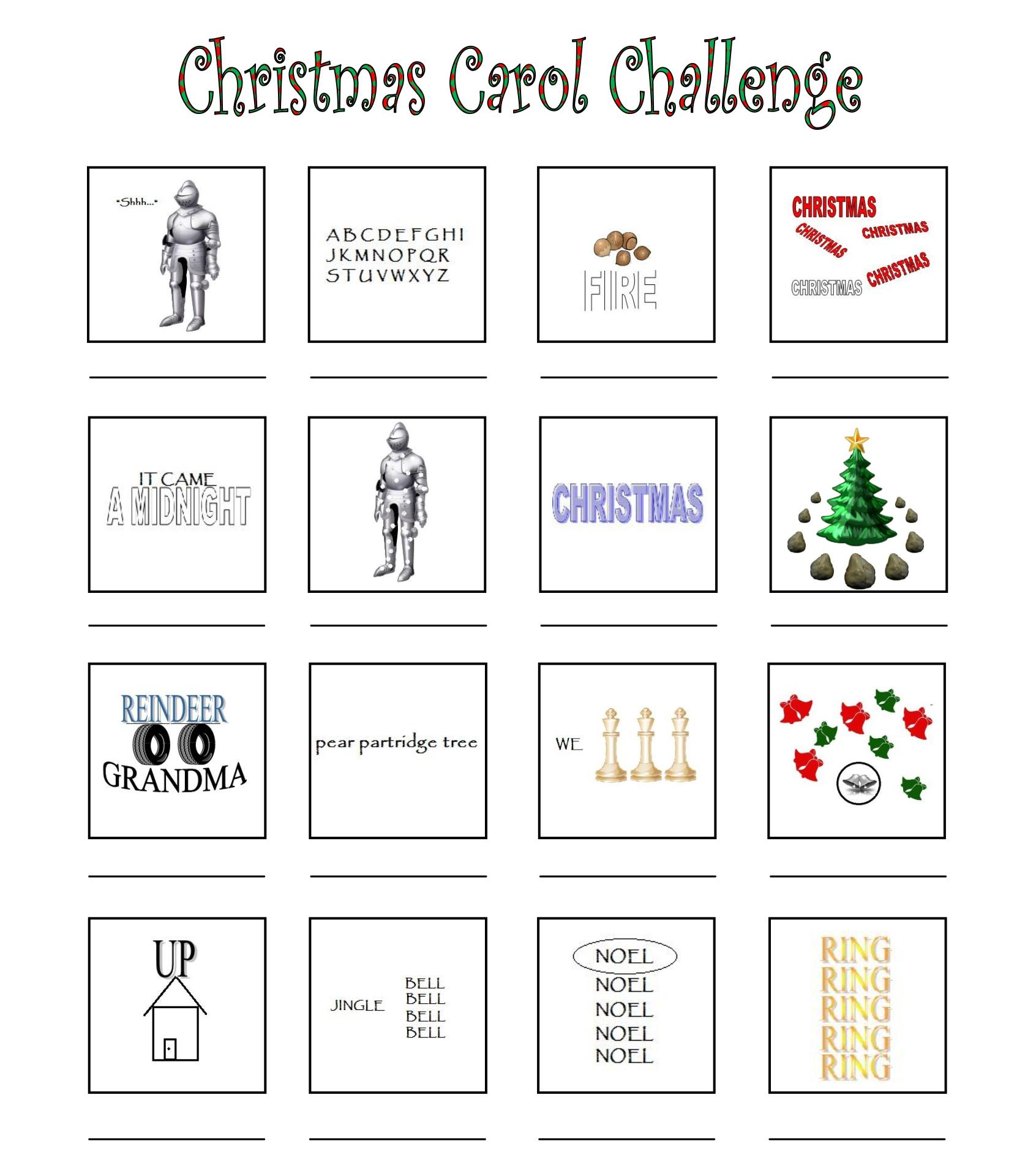 Christmas Carol Brain Teasers Worksheets