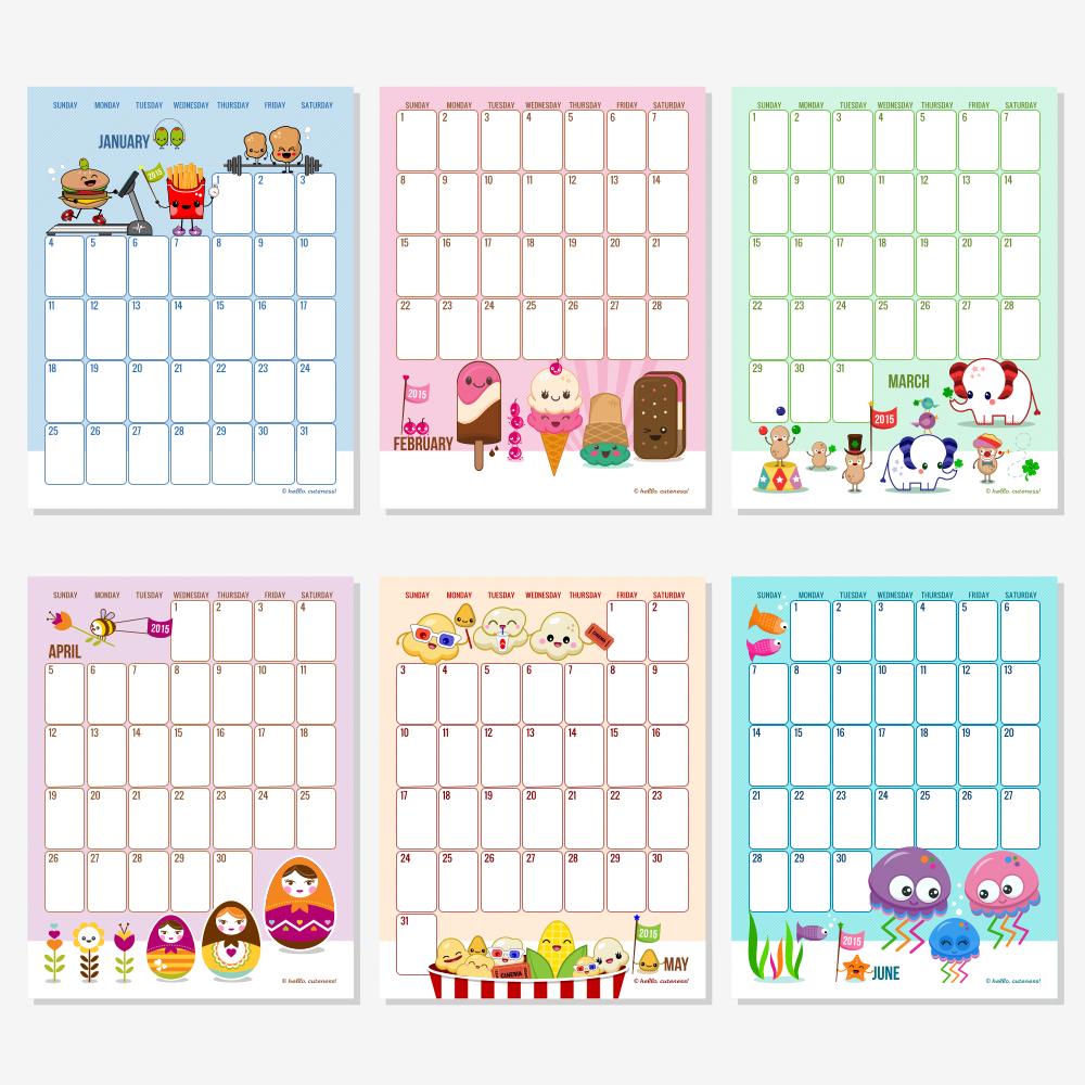 2015 monthly calendar template