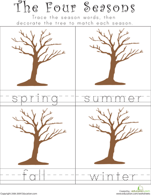 7 Images of Four Seasons Printable Kindergarten Words