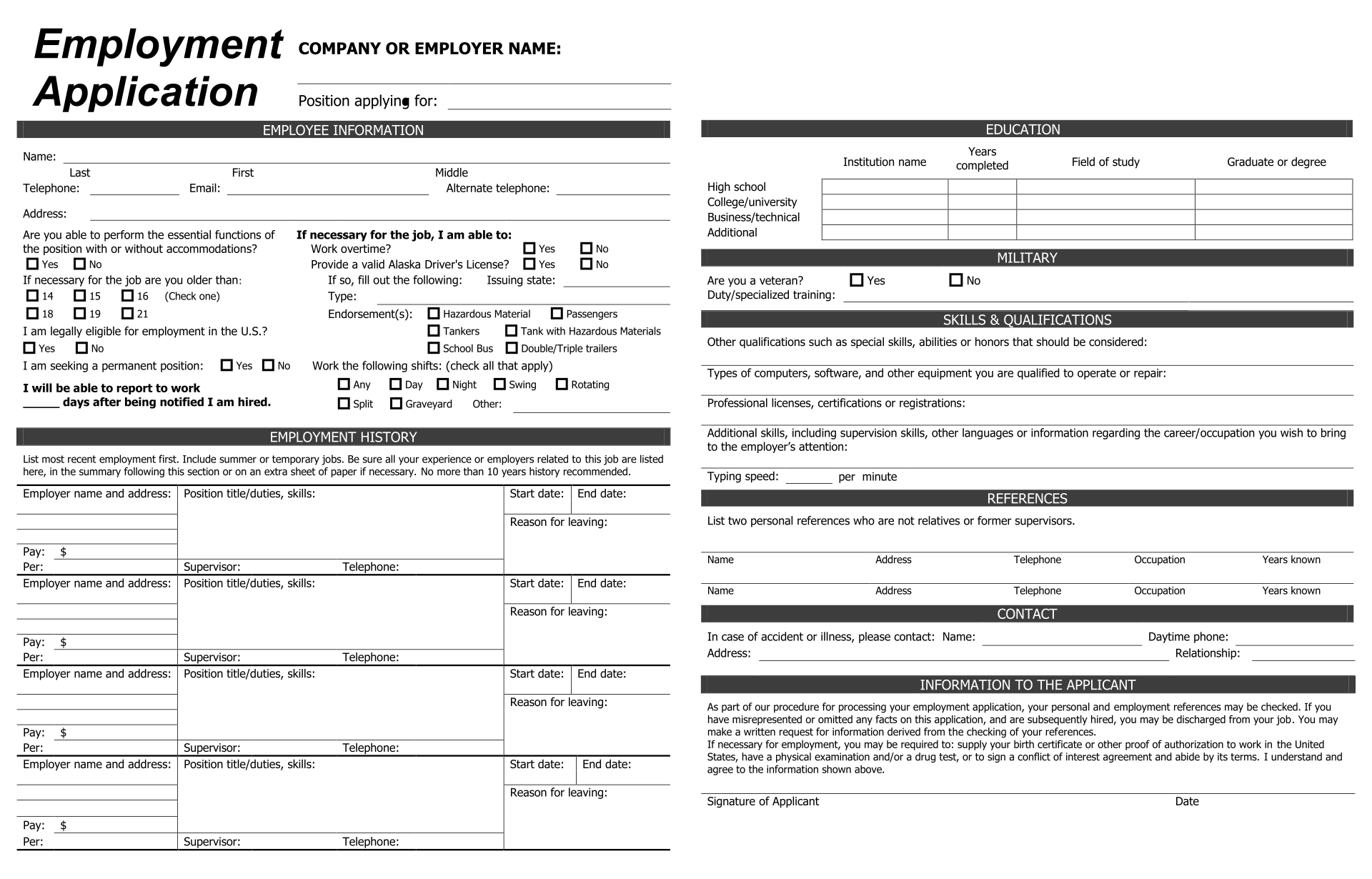 9 best practice job application forms printable